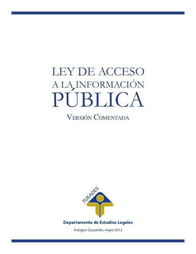 Ley de acceso a la información pública comentada