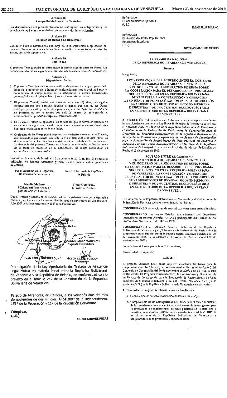 Ley acuerdo entre vzla y rusia para la construcción y operación reactor nucleoeléctrica