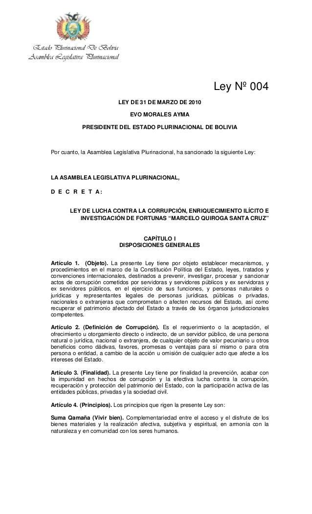 Estado Plurinacional De BoliviaAsamblea Legislativa Plurinacional                                                         ...
