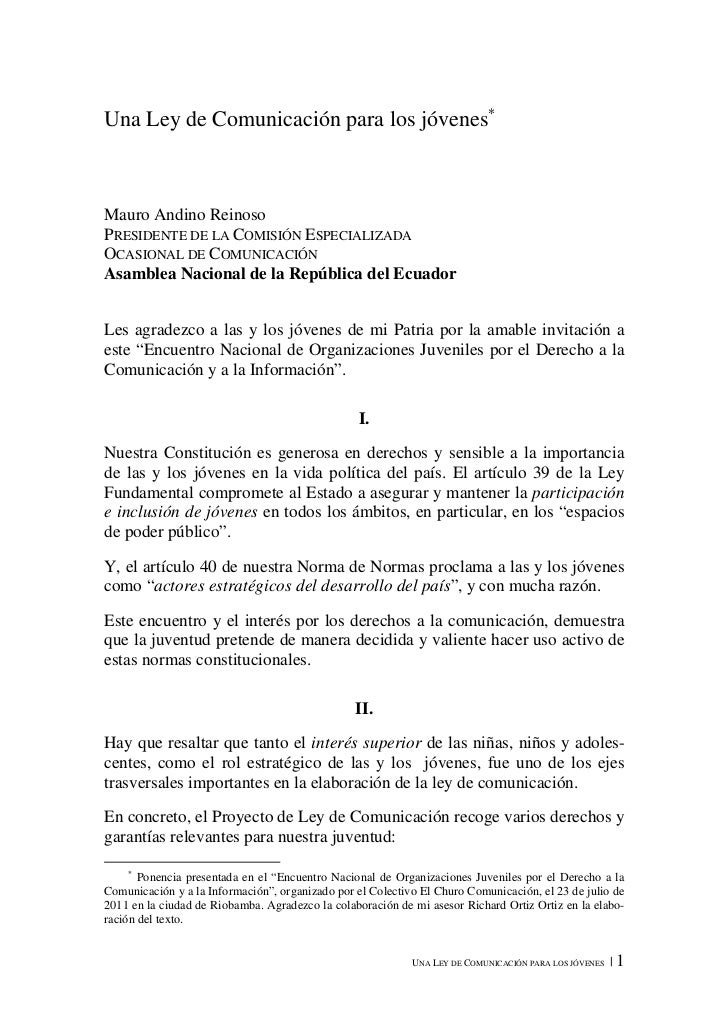 Una Ley de Comunicación para los jóvenes∗Mauro Andino ReinosoPRESIDENTE DE LA COMISIÓN ESPECIALIZADAOCASIONAL DE COMUNICAC...