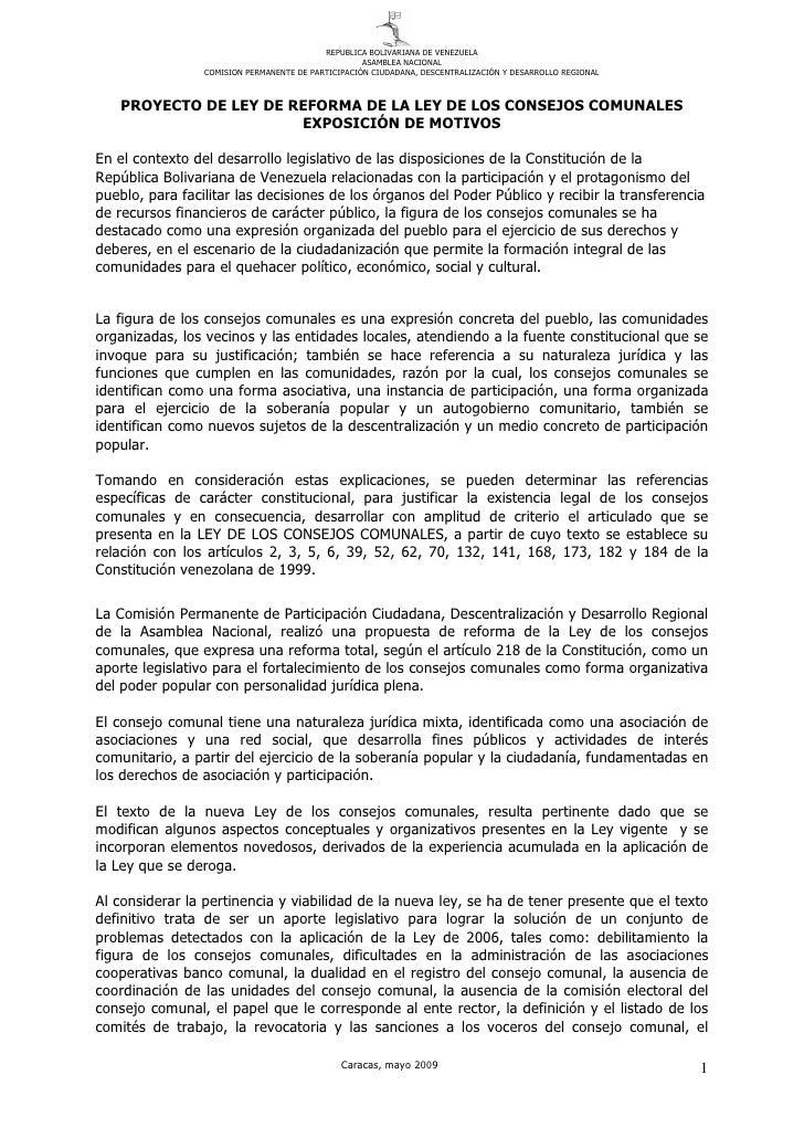 Proyecto de Reforma de la Ley Consejos Comunales 2009