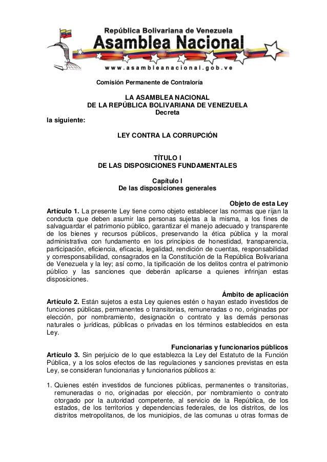 Comisión Permanente de Contraloría                          LA ASAMBLEA NACIONAL                DE LA REPÚBLICA BOLIVARIAN...