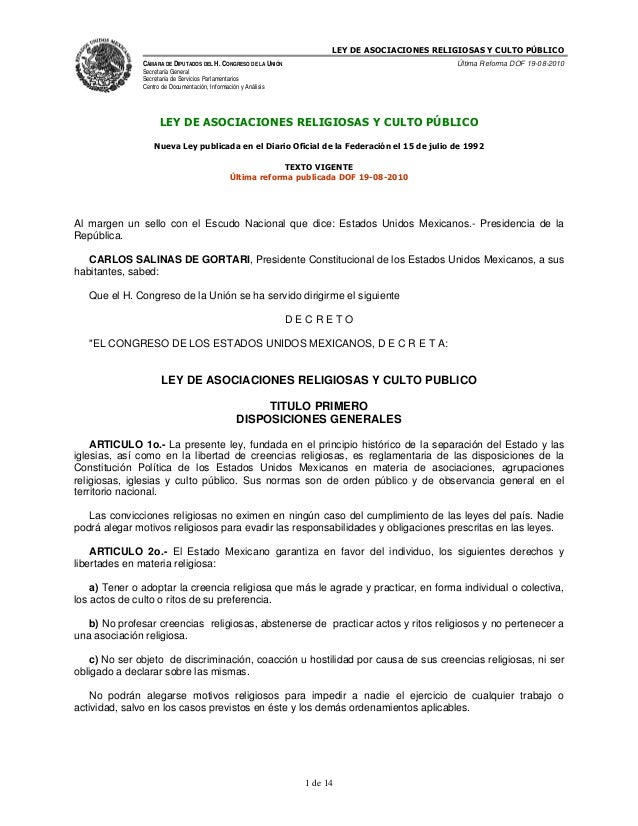 LEY DE ASOCIACIONES RELIGIOSAS Y CULTO PÚBLICO               CÁMARA DE DIPUTADOS DEL H. CONGRESO DE LA UNIÓN              ...