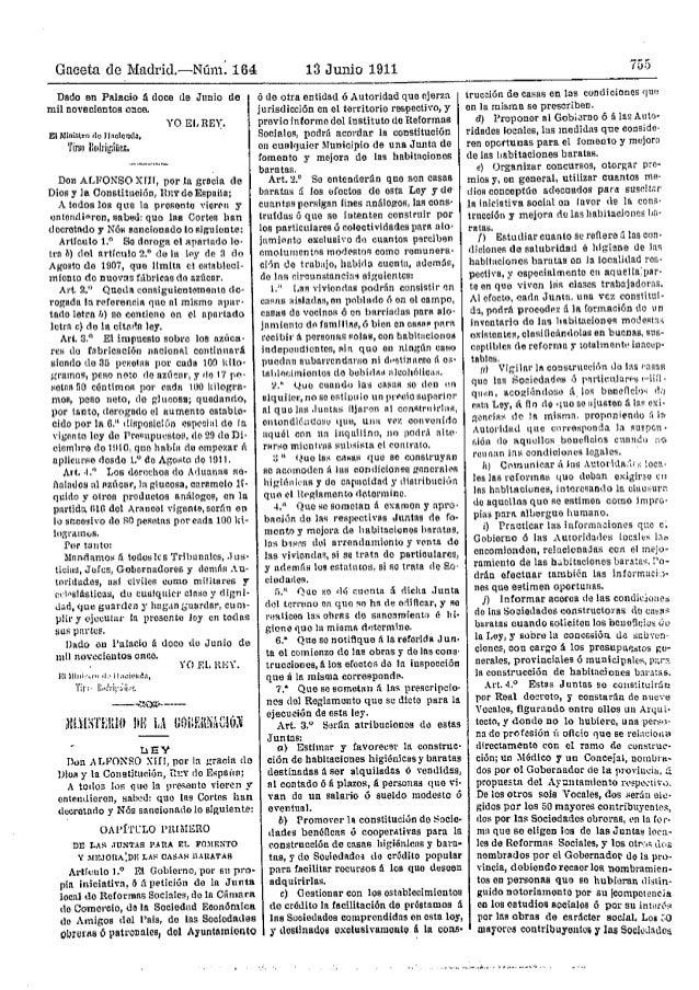 Gnceta de Madrid.-Num: 164 13 Junio 1911 755 Dado en Plllacio .ıl doce de Jıınio de mil novecİentoB onca. Ellıllnistro <10...