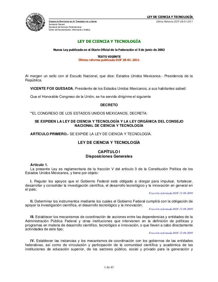 LEY DE CIENCIA Y TECNOLOGÍA               CÁMARA DE DIPUTADOS DEL H. CONGRESO DE LA UNIÓN                                 ...
