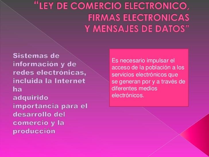 Ley de comercio electronico, firmas electronicas