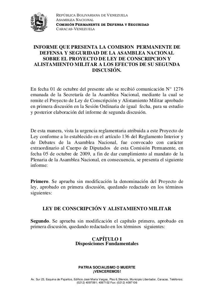 REPÚBLICA BOLIVARIANA DE VENEZUELA                    ASAMBLEA NACIONAL                    COMISIÓN PERMANENTE DE DEFENSA ...