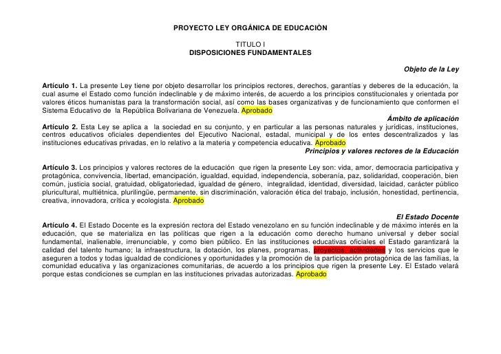 PROYECTO LEY ORGÁNICA DE EDUCACIÒN                                                             TITULO I                   ...