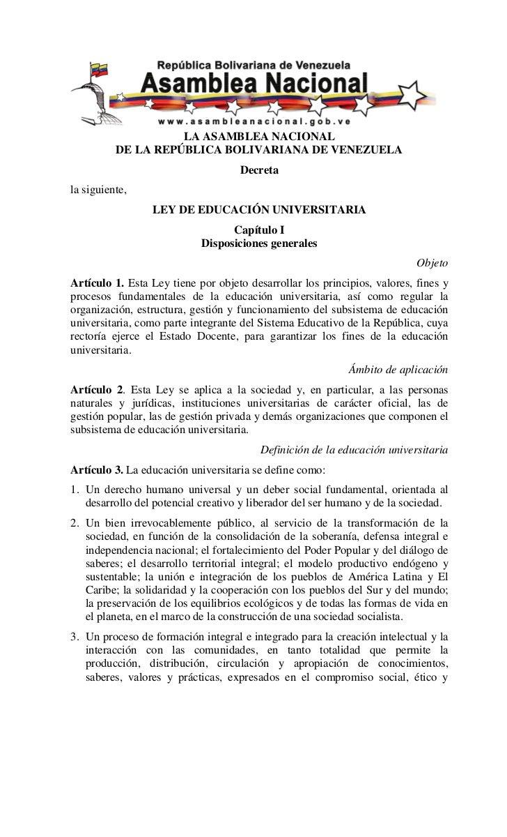 Ley De Educación Universitaria