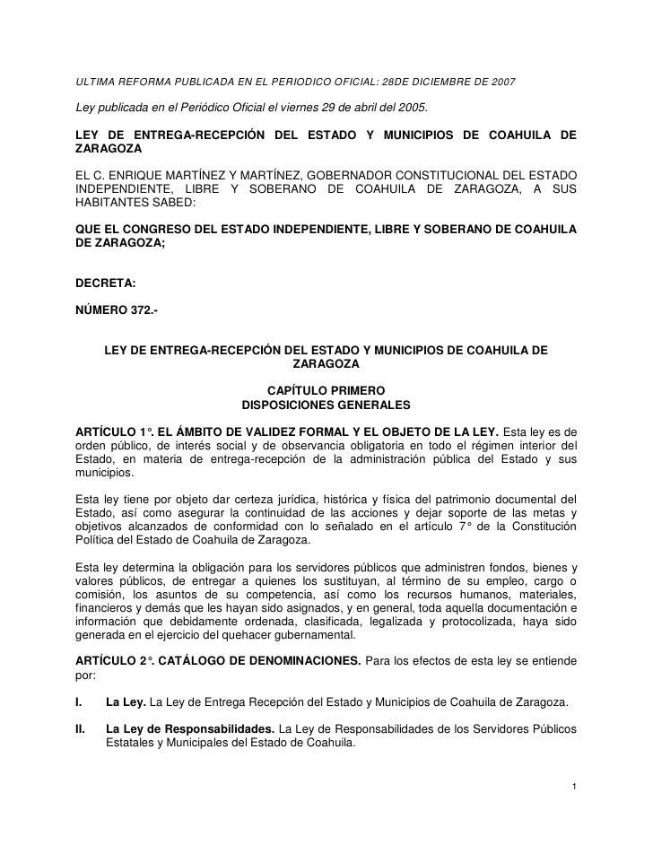 ULTIMA REFORMA PUBLICADA EN EL PERIODICO OFICIAL: 28DE DICIEMBRE DE 2007  Ley publicada en el Periódico Oficial el viernes...