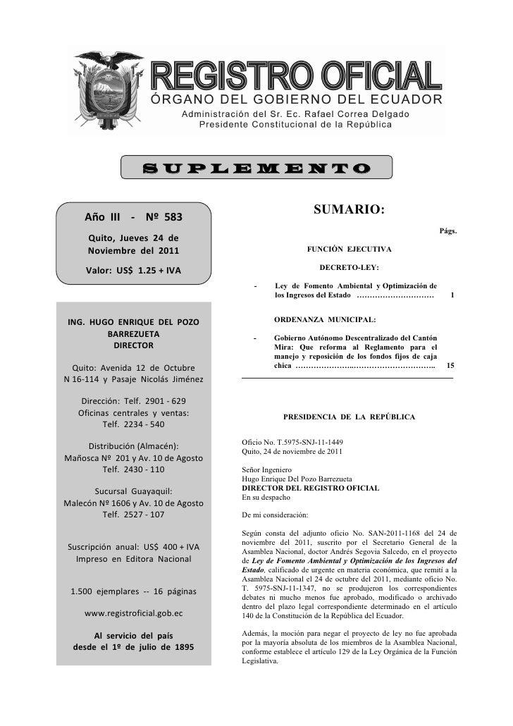 SUPLEMENTO     AñoIII‐Nº583                                                                SUMARIO:          ...
