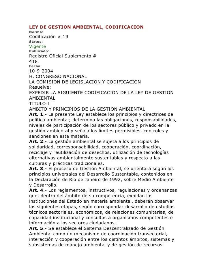 Ley de gestion ambiental