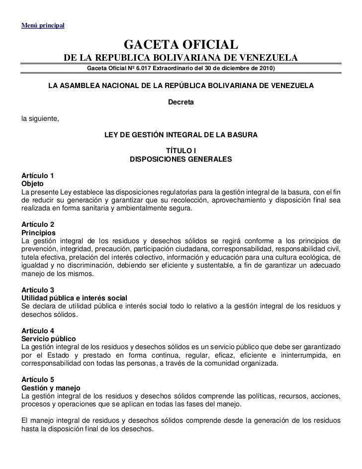 Menú principal                                  GACETA OFICIAL                DE LA REPUBLICA BOLIVARIANA DE VENEZUELA    ...