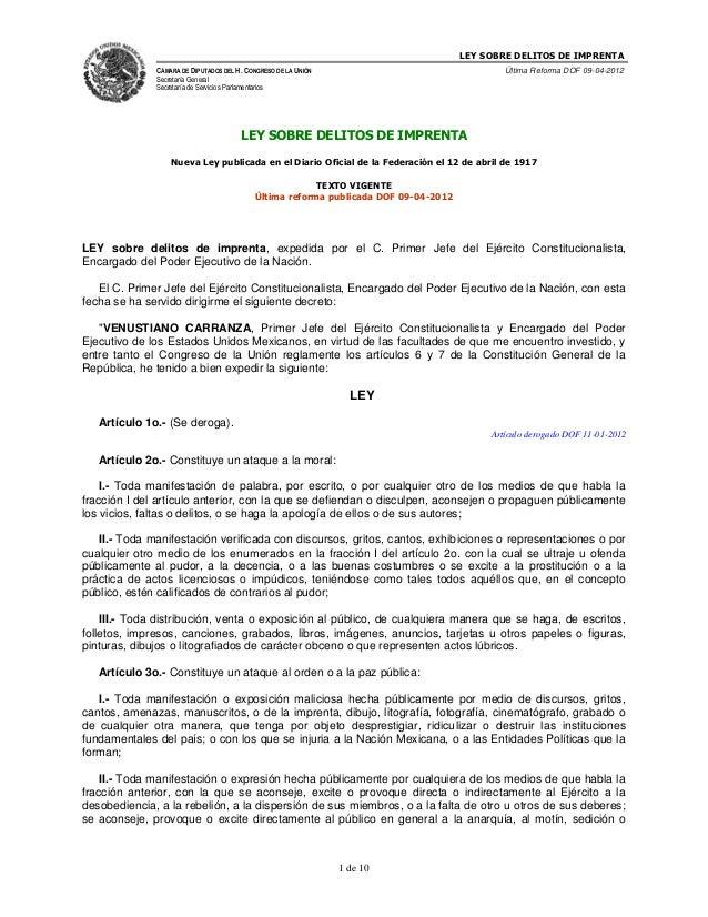 LEY SOBRE DELITOS DE IMPRENTA CÁMARA DE DIPUTADOS DEL H. CONGRESO DE LA UNIÓN Secretaría General Secretaría de Servicios P...