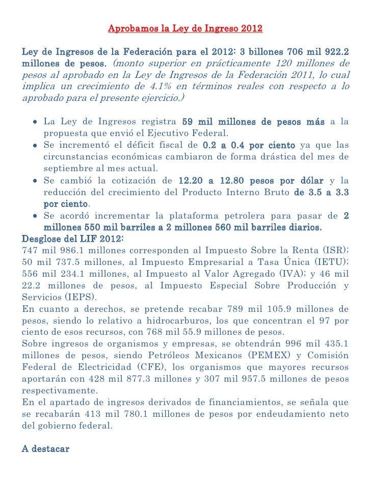 Ley de ingresos 2012