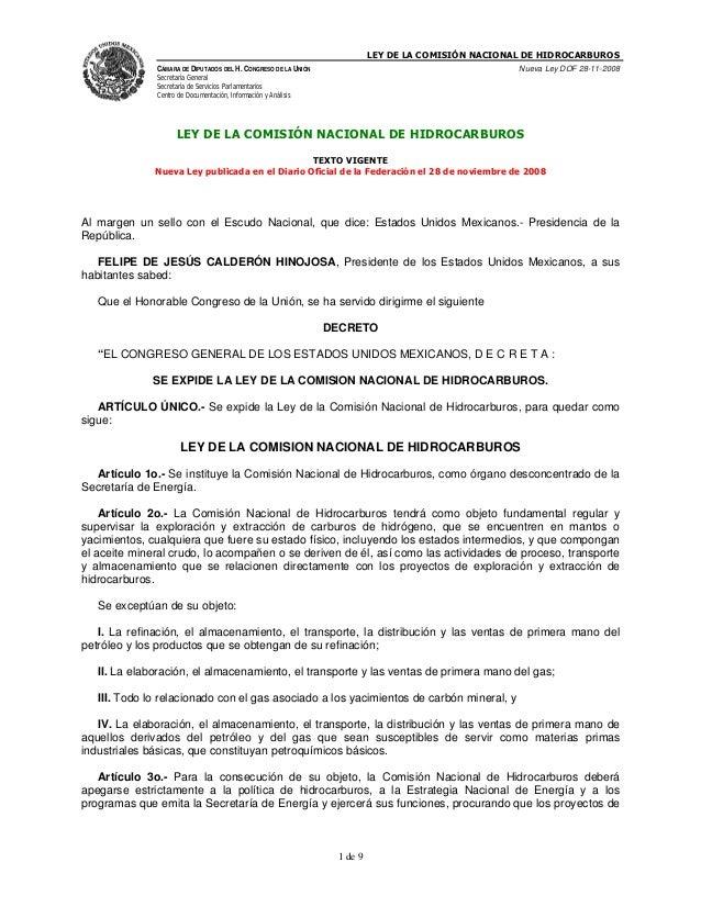 LEY DE LA COMISIÓN NACIONAL DE HIDROCARBUROS              CÁMARA DE DIPUTADOS DEL H. CONGRESO DE LA UNIÓN                 ...