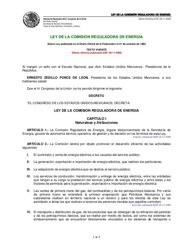 LEY DE LA COMISIÓN REGULADORA DE ENERGÍA                 Cámara de Diputados del H. Congreso de la Unión                  ...