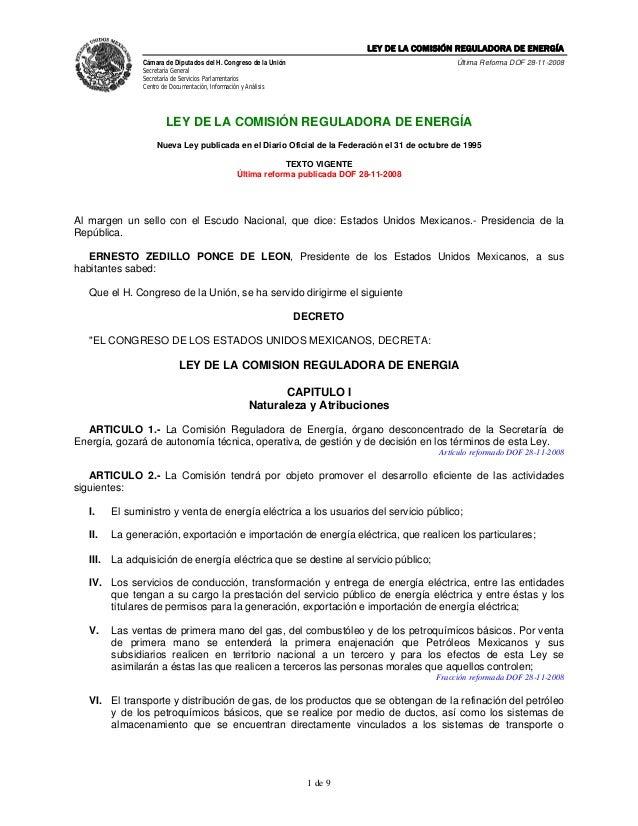 Ley de la comisión reguladora de energía