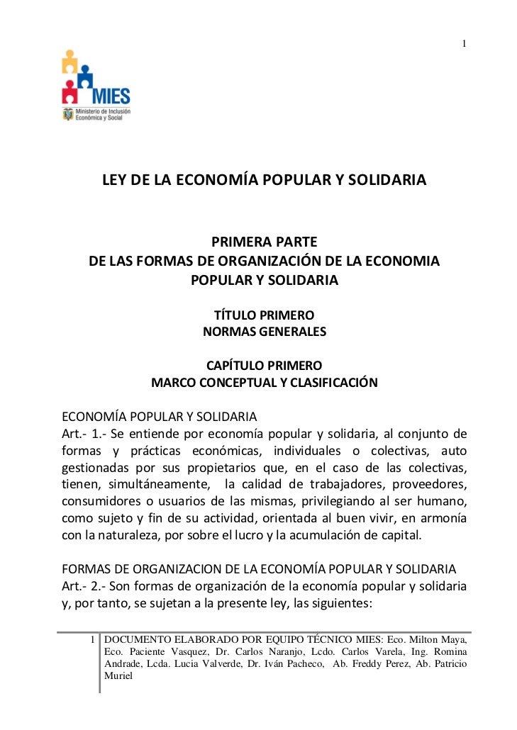 Ley de economia popular y solidaria ecuador
