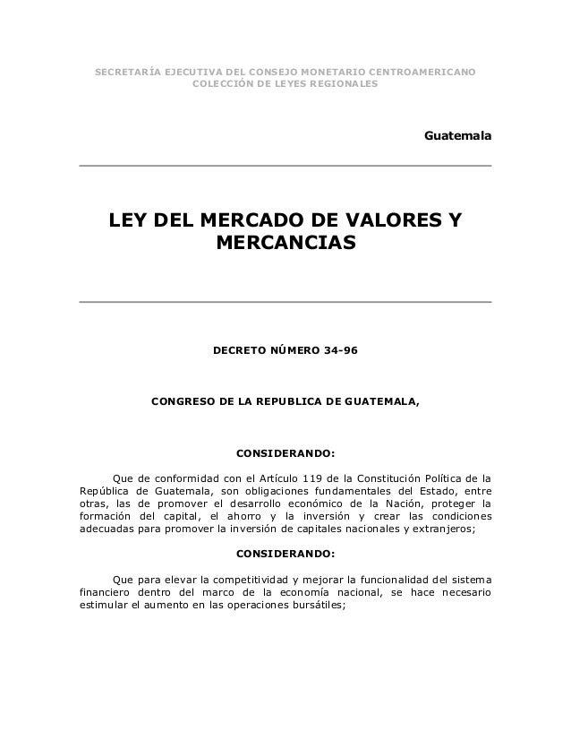 Ley del mercado de valores y mercancias (dto. 34 96)}