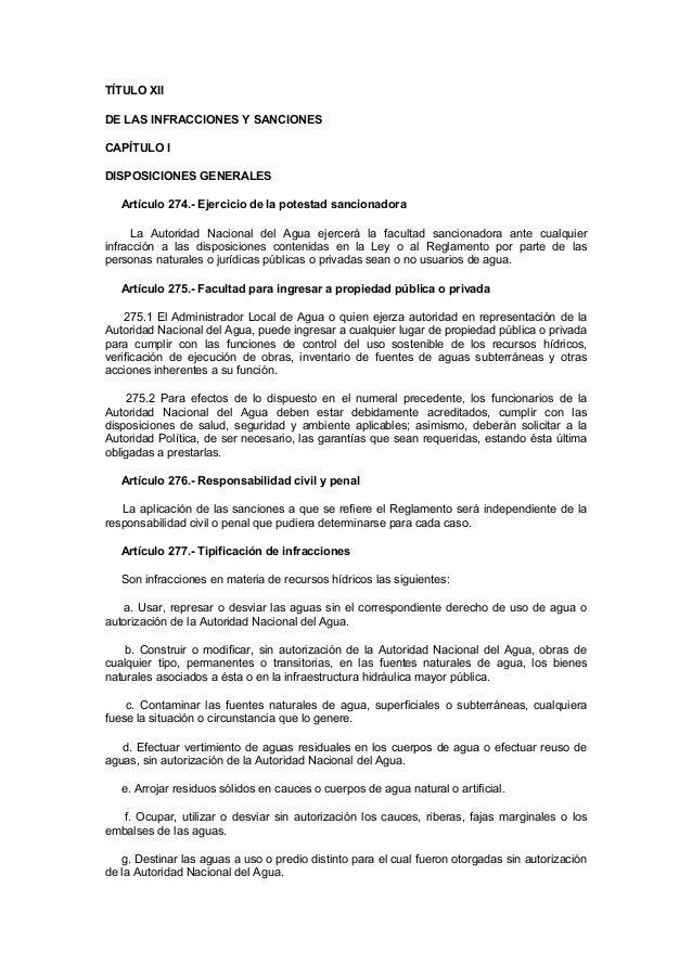 TÍTULO XII DE LAS INFRACCIONES Y SANCIONES CAPÍTULO I DISPOSICIONES GENERALES Artículo 274.- Ejercicio de la potestad sanc...