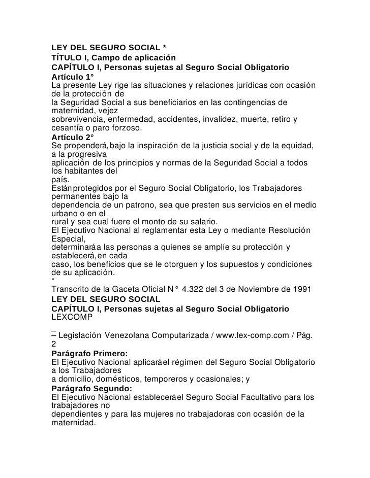 Ley del seguro social - Venezuela