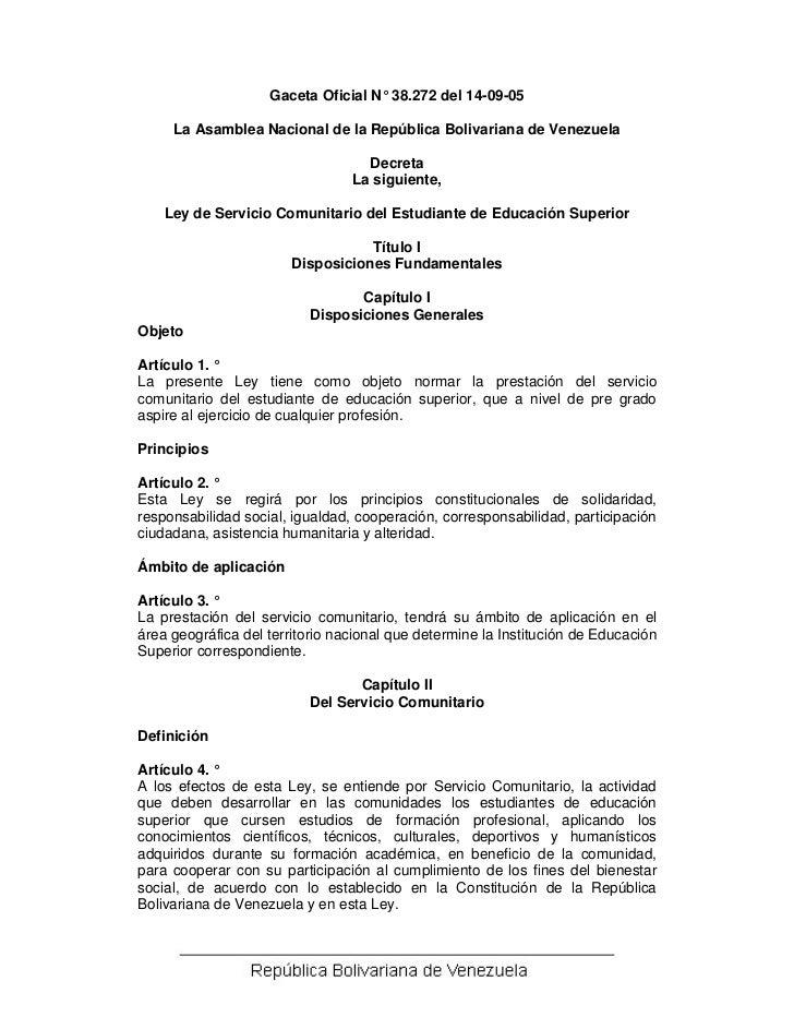 Gaceta Oficial N° 38.272 del 14-09-05     La Asamblea Nacional de la República Bolivariana de Venezuela                   ...