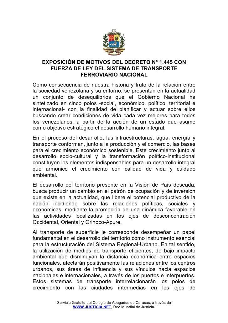 EXPOSICIÓN DE MOTIVOS DEL DECRETO Nº 1.445 CON      FUERZA DE LEY DEL SISTEMA DE TRANSPORTE                FERROVIARIO NAC...