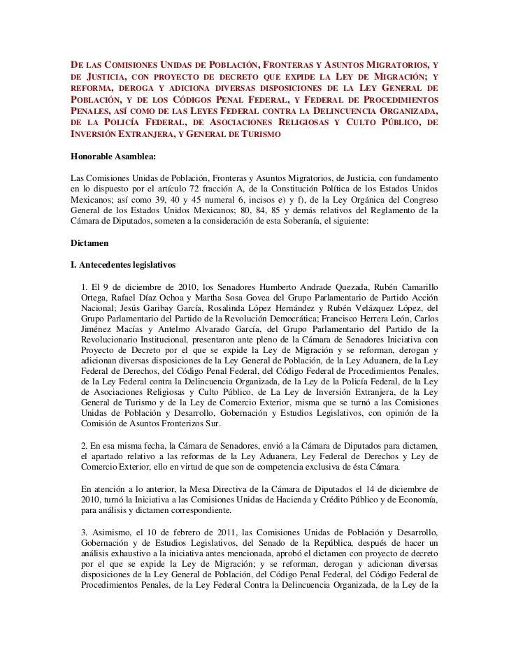 De las Comisiones Unidas de Población, Fronteras y Asuntos Migratorios, y de Justicia, con proyecto de decreto que expide ...