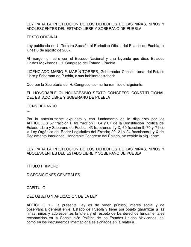 Ley para la Protección de los Derechos de los Niños y Adolescentes de Puebla