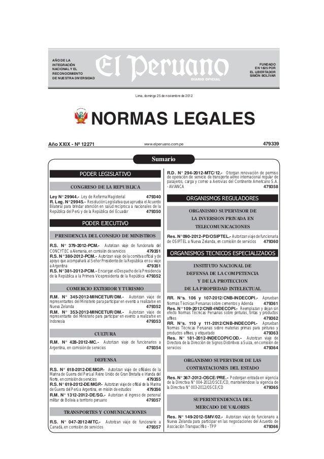 Ley de Reforma Magisterial Nro 29944