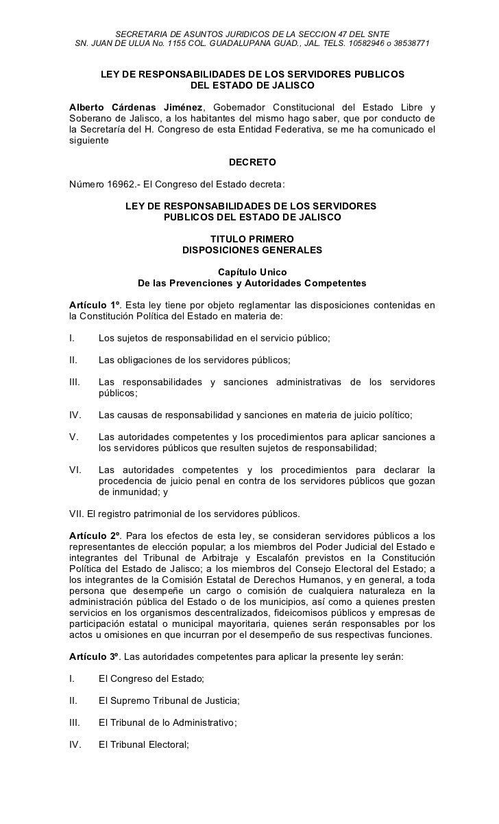 Ley de responsabilidades de los servidores publicos