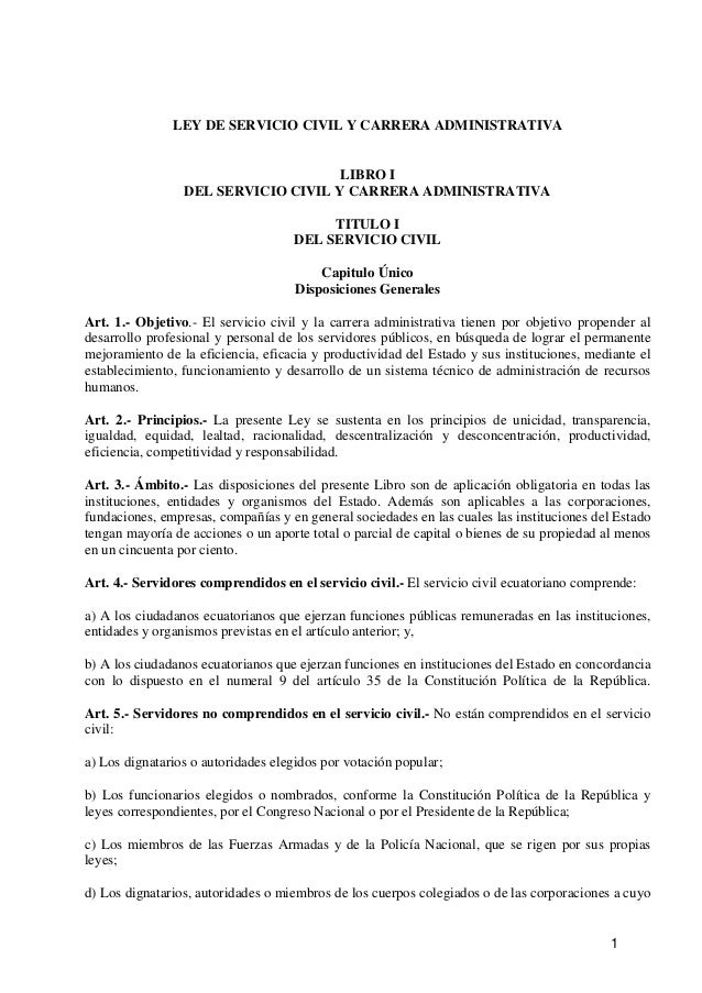 1 LEY DE SERVICIO CIVIL Y CARRERA ADMINISTRATIVA LIBRO I DEL SERVICIO CIVIL Y CARRERA ADMINISTRATIVA TITULO I DEL SERVICIO...