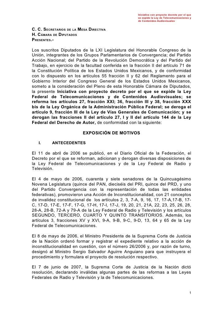 Iniciativa con proyecto decreto por el que                                                        se expide la Ley de Tele...