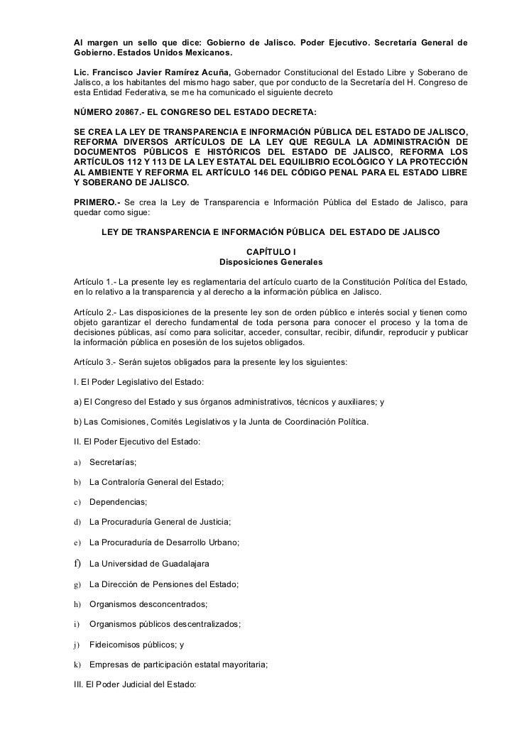 Al margen un sello que dice: Gobierno de Jalisco. Poder Ejecutivo. Secretaría General deGobierno. Estados Unidos Mexicanos...