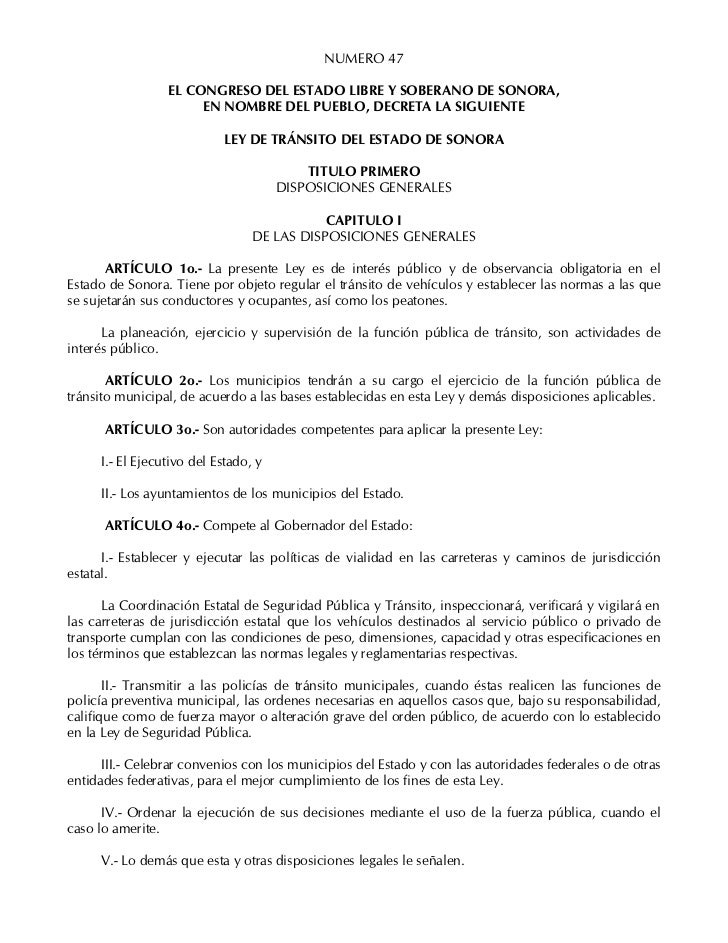 NUMERO 47                 EL CONGRESO DEL ESTADO LIBRE Y SOBERANO DE SONORA,                      EN NOMBRE DEL PUEBLO, DE...