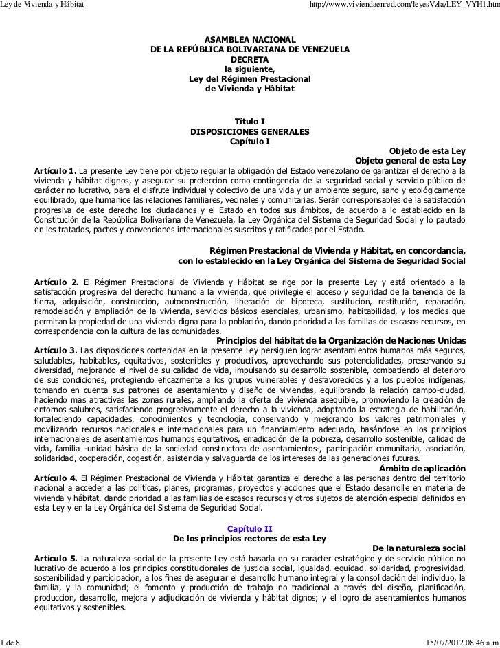 Ley de Vivienda y Hábitat                                                              http://www.viviendaenred.com/leyesV...