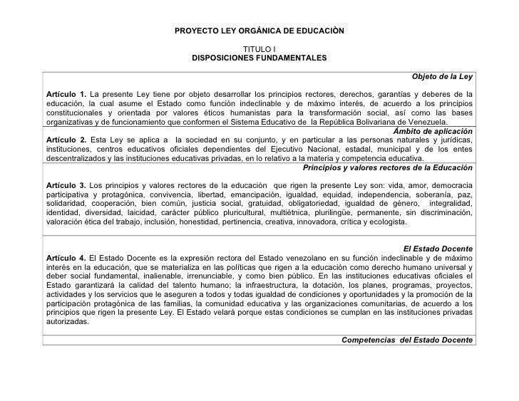 Proyecto de Ley de Educación