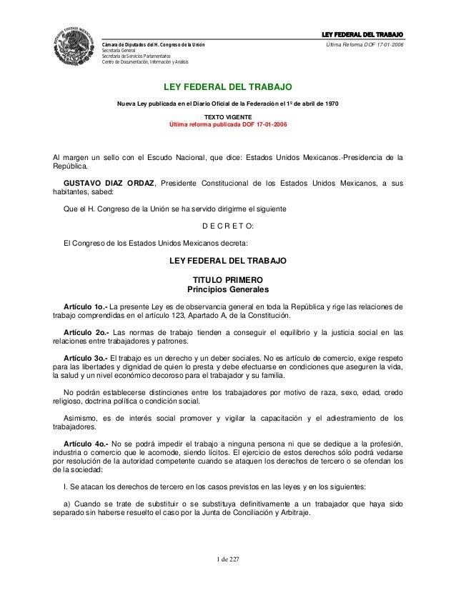 LEY FEDERAL DEL TRABAJOCámara de Diputados del H. Congreso de la UniónSecretaría GeneralSecretaría de Servicios Parlamenta...
