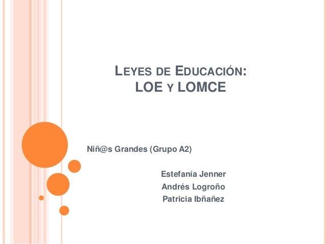 LEYES DE EDUCACIÓN: LOE Y LOMCE Niñ@s Grandes (Grupo A2) Estefanía Jenner Andrés Logroño Patricia Ibñañez