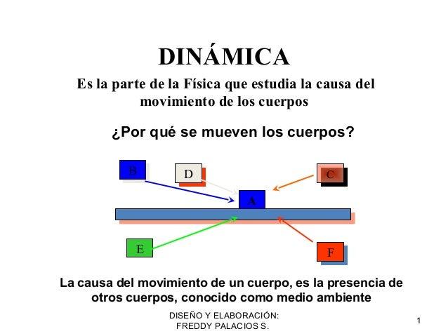 DISEÑO Y ELABORACIÓN: FREDDY PALACIOS S. 1 DINÁMICA Es la parte de la Física que estudia la causa del movimiento de los cu...