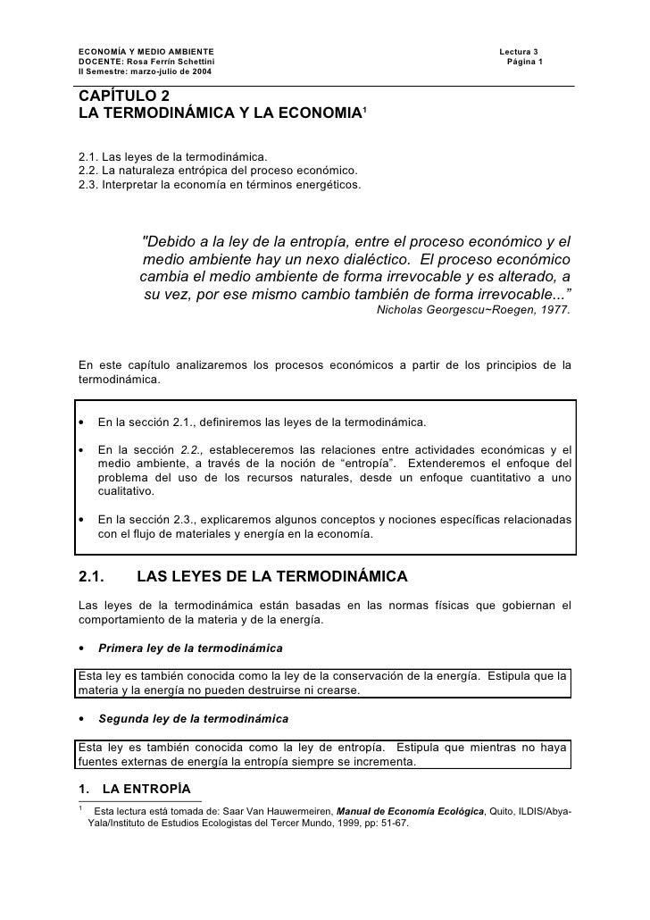 ECONOMÍA Y MEDIO AMBIENTE                                                                Lectura 3DOCENTE: Rosa Ferrín Sch...