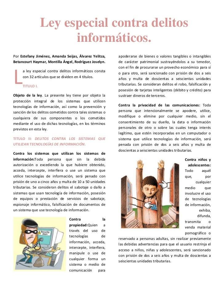 Ley especial contra delitos                       informáticos.Por Estefany Jiménez, Amanda Seijas, Álvarez Yelitza,      ...