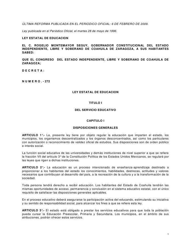 Ley estatal de educacion coahuila