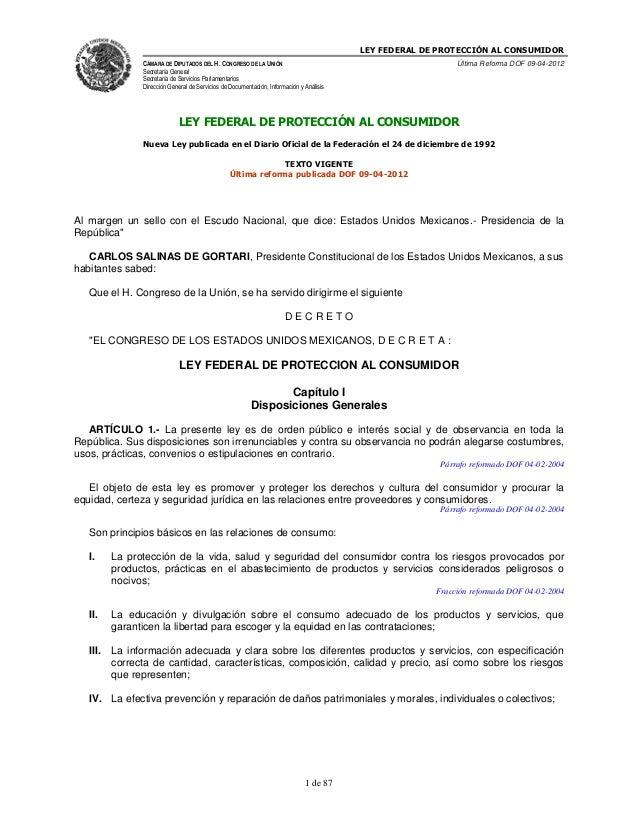 LEY FEDERAL DE PROTECCIÓN AL CONSUMIDOR                CÁMARA DE DIPUTADOS DEL H. CONGRESO DE LA UNIÓN                    ...
