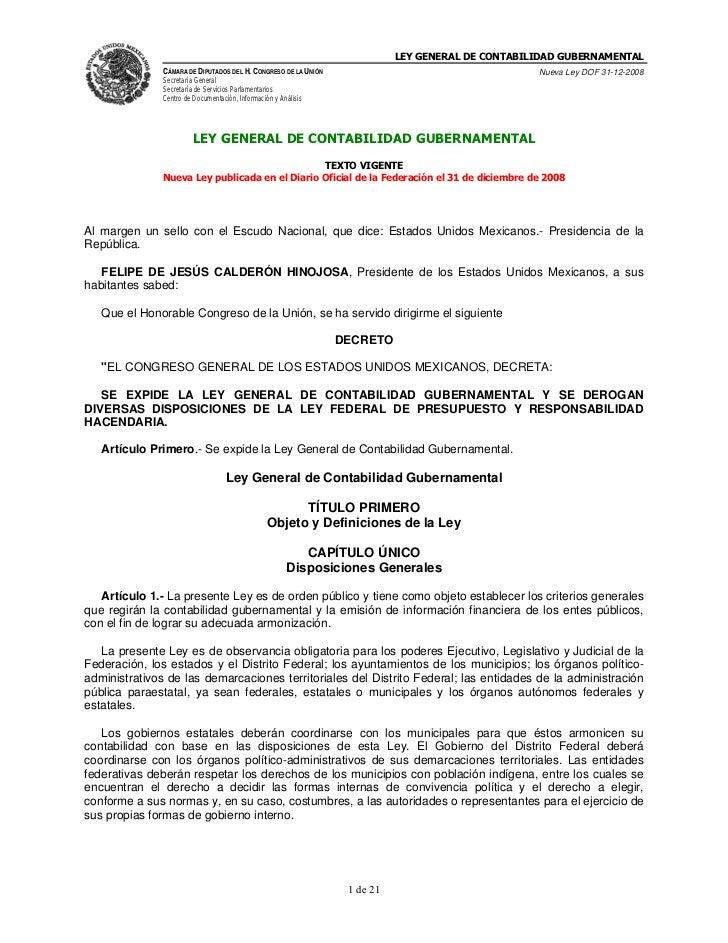 LEY GENERAL DE CONTABILIDAD GUBERNAMENTAL               CÁMARA DE DIPUTADOS DEL H. CONGRESO DE LA UNIÓN                   ...