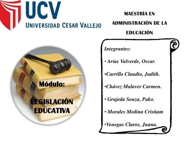 MAESTRÍA EN ADMINISTRACIÓN DE LA EDUCACIÓN Integrantes:  Arias Valverde, Oscar. Carrillo Claudio, Judith.  Chávez Malaver ...