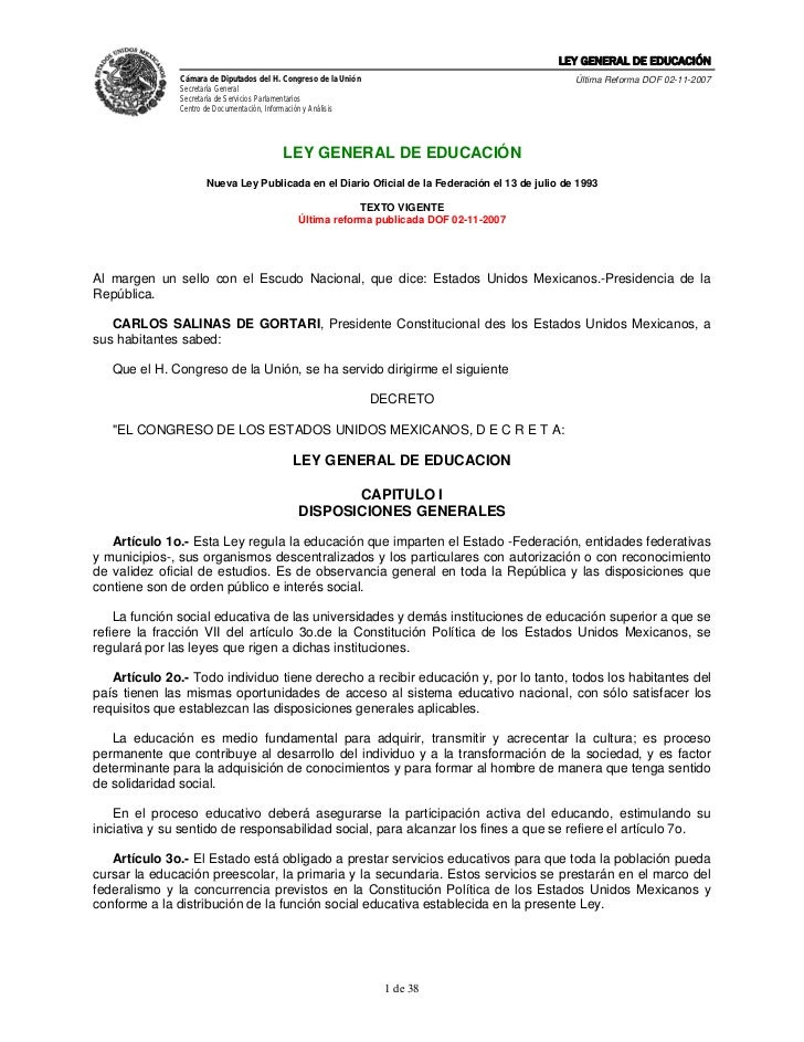 LEY GENERAL DE EDUCACIÓN               Cámara de Diputados del H. Congreso de la Unión                                    ...