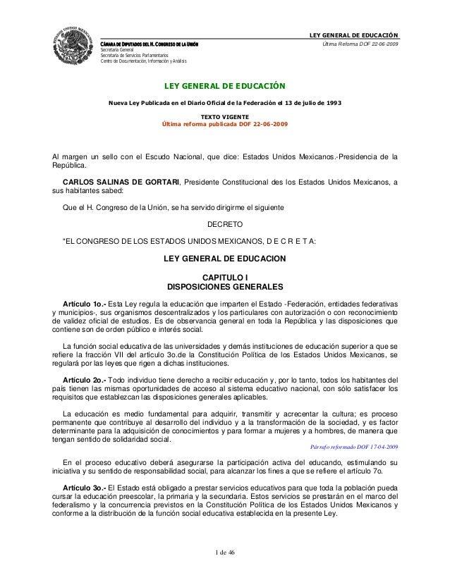 LEY GENERAL DE EDUCACIÓN CÁMARA DE DIPUTADOS DEL H. CONGRESO DE LA UNIÓN Secretaría General Secretaría de Servicios Parlam...
