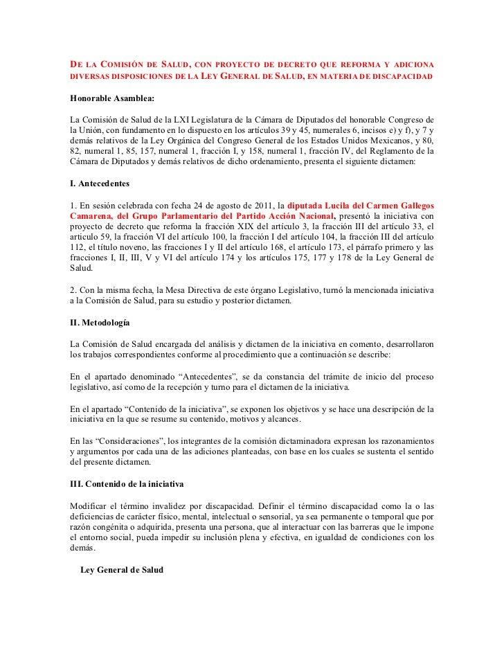 DE LA COMISIÓN DE SALUD, CON PROYECTO DE DECRETO QUE REFORMA Y ADICIONADIVERSAS DISPOSICIONES DE LA LEY GENERAL DE SALUD, ...